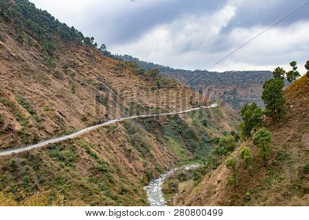 Scenic Road Through The Valley Of Banikhet Dalhousie Himachal Pradesh Covered With Mountain And Tree