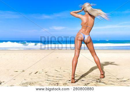 3d Beautiful Sun-tanned Woman Blue Swimsuit Bikini On Sea Beach. Summer Rest. Blue Ocean Background.