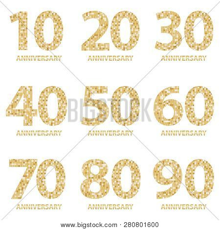 Set Of Anniversary Emblems , Anniversary Template Design For Web, Game. Set Of Anniversary Logotype.