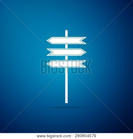 Road Traffic Sign. Signpost Icon Isolated On Blue Background. Pointer Symbol. Blank Board With Place