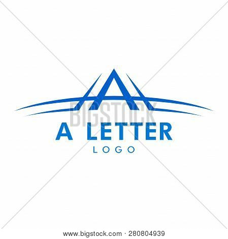 Letter A Logo With Swoosh In Blue Color. Vector Logo With The Stylized Letter A With Swoosh Shape.