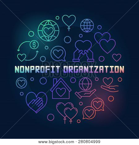 Nonprofit Organization Round Vector Colored Illustration In Outline Style On Dark Background