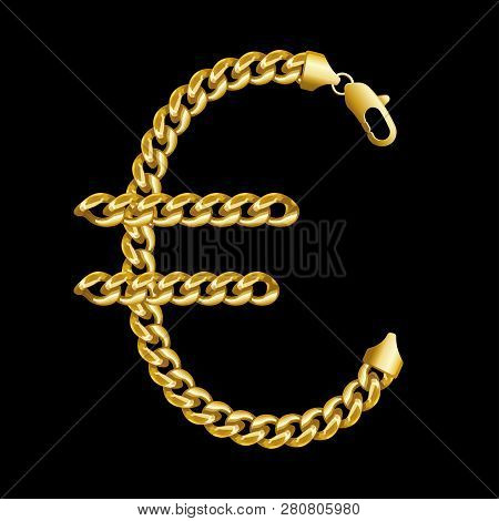 Gold Euro Money Sign Made Of Shiny Thick Golden Chains With A Lobster Lock. Realistic Vector Detaile