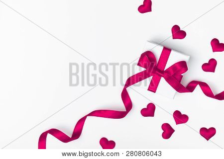 Valentine Day Card Or Banner. Gift Or Present Box And Hearts On White Background. Flat Lay.