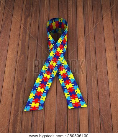 3d Rendering Of Puzzle Pattern Ribbon Presentation Of Autism Awareness