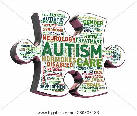 3d Rendering Of Puzzle Pattern Ribbon Presentation Of Autism Awareness On White Background