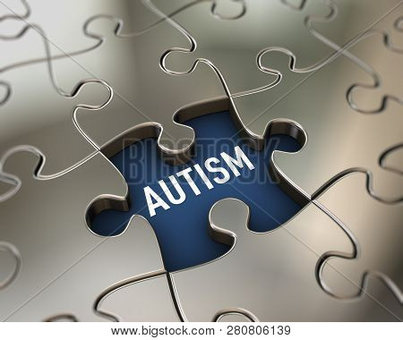 3d Rendering Of Shiny Puzzle Shape Piece Word Cloud Tag Of Autism Concept