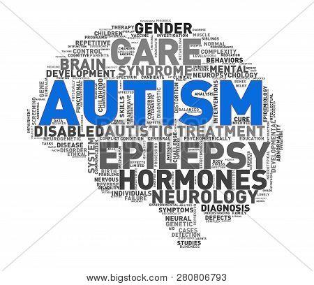 Illustration Of Custom Shape Brain Word Cloud Tags Of Autism Awareness