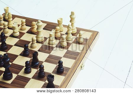 Chess Board Game, Encounter Difficult Situation, Business Competitive Concept, Copy Space