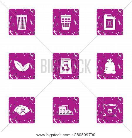 Hazardous Precipitation Icons Set. Grunge Set Of 9 Hazardous Precipitation Icons For Web Isolated On