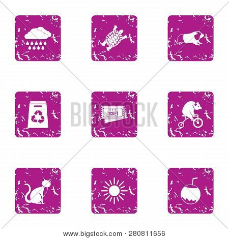 Taming Icons Set. Grunge Set Of 9 Taming Icons For Web Isolated On White Background