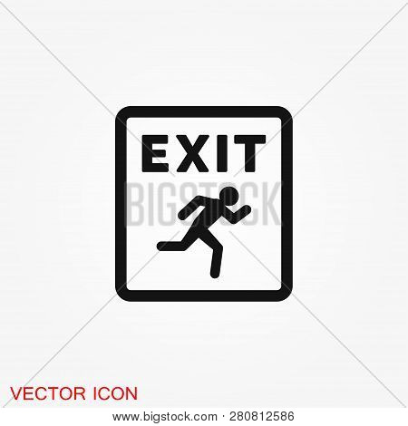 The exit icon. Logout and output, outlet, out symbol. Vector logo poster