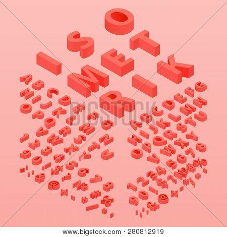 3d Font Color Living Coral, Three-dimensional Alphabet. Isometric Alphabet Font. 3d Effect Letters,