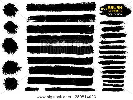 Large Set Different Grunge Brush Strokes. Dirty Artistic Design Elements Isolated On White Backgroun