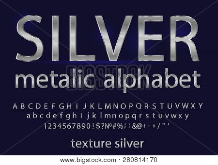 Set Of Elegant Silver Colored Metal Chrome Alphabet Font. Typography Classic Style Silver Font Set F