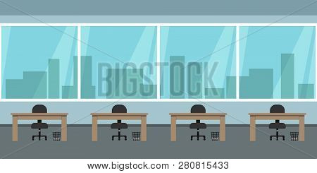 Seamless Office Interior With Panoramic Windows Overlooking City Skyscrapers. Vector Illustration.