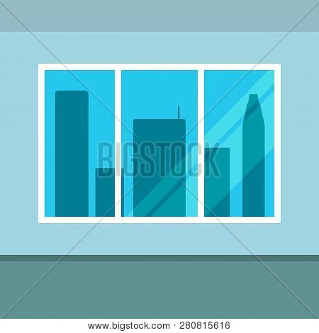 Window Overlooking The City Skyscrapers. Vector Illustration.