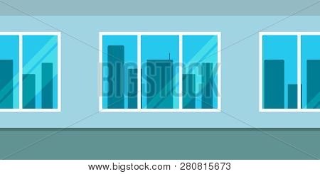 Seamless Pattern Of Wall With Windows Overlooking The Skyscrapers. Vector Illustration.