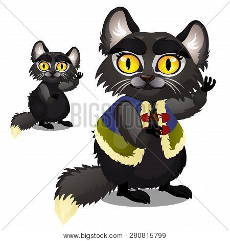 Sly Animated Black Furry Cat With Yellow Eyes In A Vest Isolated On White Background. Vector Cartoon