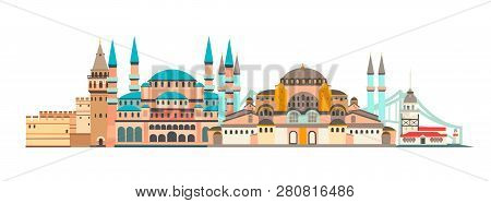 Istanbul City Colorful Skyline Vector Illustration. Panoramic Of Istanbul, Famous Building