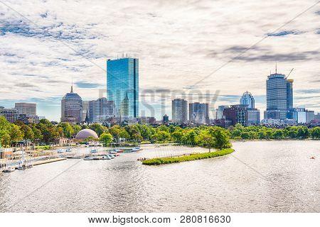 Boston, Massachusetts City Skyline Along The Charles River