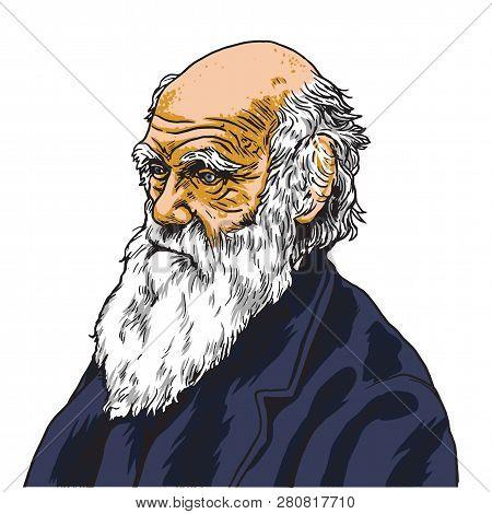 Harles Darwin Vector Cartoon Caricature Portrait Illustration. January 27, 2019