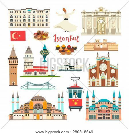Istanbul City Colorful Vector Collection. Istanbul Building And Landmarks. Mosque, Temple Cartoon St