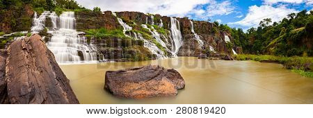 Panorama Of The Beautiful Pongour Waterfalls Located Near Dalat, Vietnam