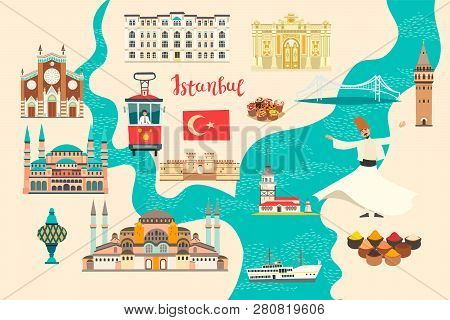 Istanbul City Colorful Vector Map. Famous Istanbul Building. Mosque And Turkey Landmarks Card Atlas
