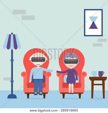 The Elderly Feel Young In Virtual Reality. Grandmother And Grandfather With Virtual Reality Headset