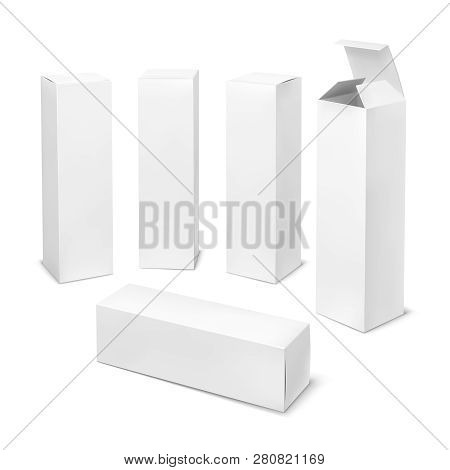 Tall White Box. Cardboard Cosmetic Boxes Rectangular Blank Package With Shadows Medicine Product Ver
