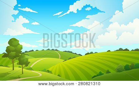 Summer Field Landscape. Nature Hills Fields Blue Sky Clouds Sun Countryside. Green Tree And Grass Ru