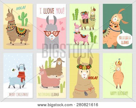 Llama Cards. Baby Llamas Cute Alpaca And Cacti Wild Lama. Peru Camel, Girl Party Invitation Card Vec