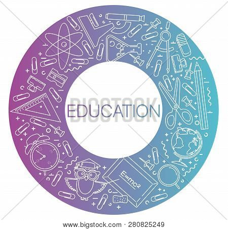 Modern Linear Concept Of Education In Circle With Thin Line Icons. Education. Set Of Line Icons Educ