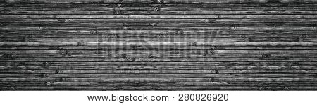 Wide Black And White Wooden Background. Natural Bamboo Surface Panoramic Texture