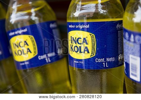 Copacabana, Bolivia - January 6, 2018: View At Inca Kola Bottles In Copacabana, Bolivia. Inca Kola I