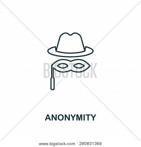 Anonymity Outline Icon. Thin Line Style Design From Blockchain Icons Collection. Creative Anonymity