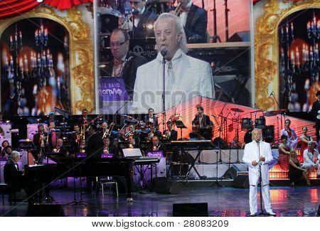MOSCOW - APRIL 18:  Poet Ilya Reznik at recital kompozitor Raimonds Pauls and poet Ilya Reznik