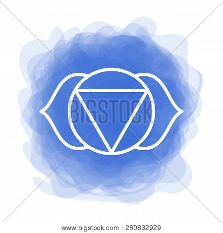 Ajna Icon. The Sixth Frontal Chakra. Third Eye. Vector Indigo Blue Smoky Circle. Line Symbol. Sacral