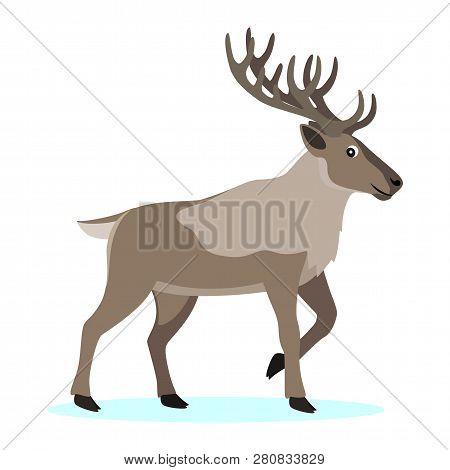 Cute Forest Polar Animal, Cartoon Caribou Reindeer With Long Horns