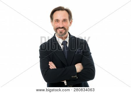 Keeping Arms Crossed. Senior Man With Grey Beard Hair. Mature Businessman In Formal Wear. Bearded Ma