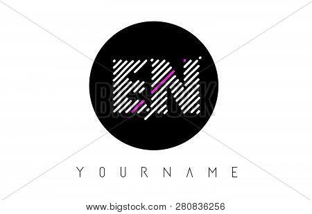 En Letter Logo Design With White Lines And Black Circle Vector Illustration