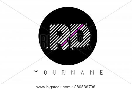 Rd Letter Logo Design With White Lines And Black Circle Vector Illustration