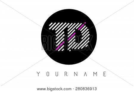 Td Letter Logo Design With White Lines And Black Circle Vector Illustration