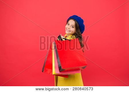 Girl Cute Kid Hold Shopping Bags. Get Discount Shopping On Birthday Holiday. Nice Purchase. Fashioni
