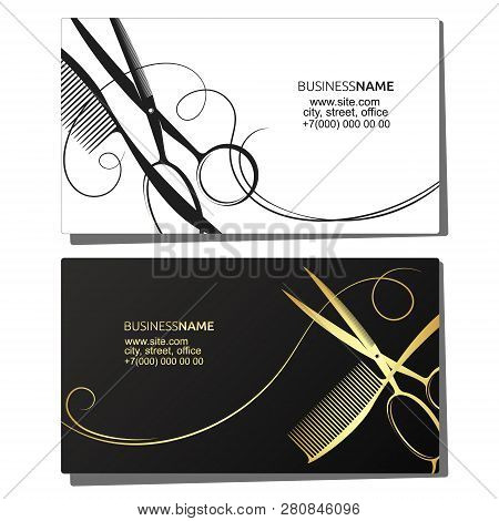 Business Card For Hairdresser Beauty Salon Vector