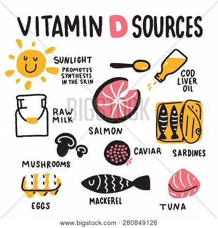Vitamin D Sources. Hand Drawn Illustration Of Different Food Rich Of Vitamin D. Vector.