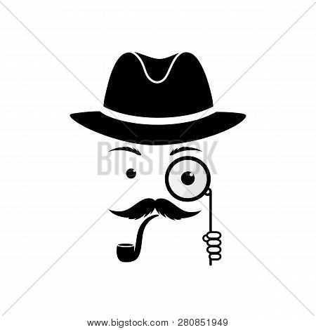 A Mustache Detective In A Hat And With A Pipe. Inspector With A Monocle In His Hands. Sleuth Vector