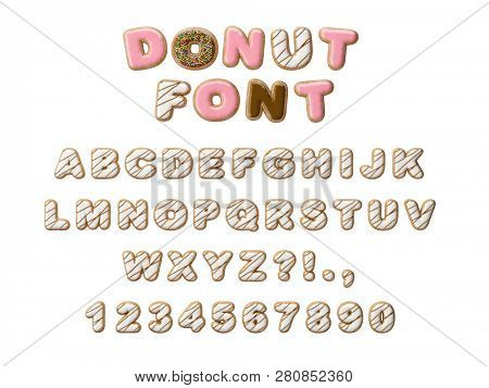 Donuts decorative font glazed sweet letters and numbers. Cute design. 3D illustration