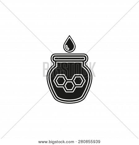 Illustration Of Drizzler And Honey With Glass Jar, Vector Honey Jar, Natural Dessert. Flat Pictogram